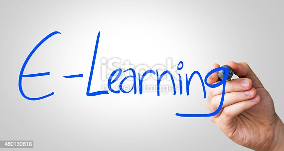 istock E-Learning written on the Wipe board 480130816