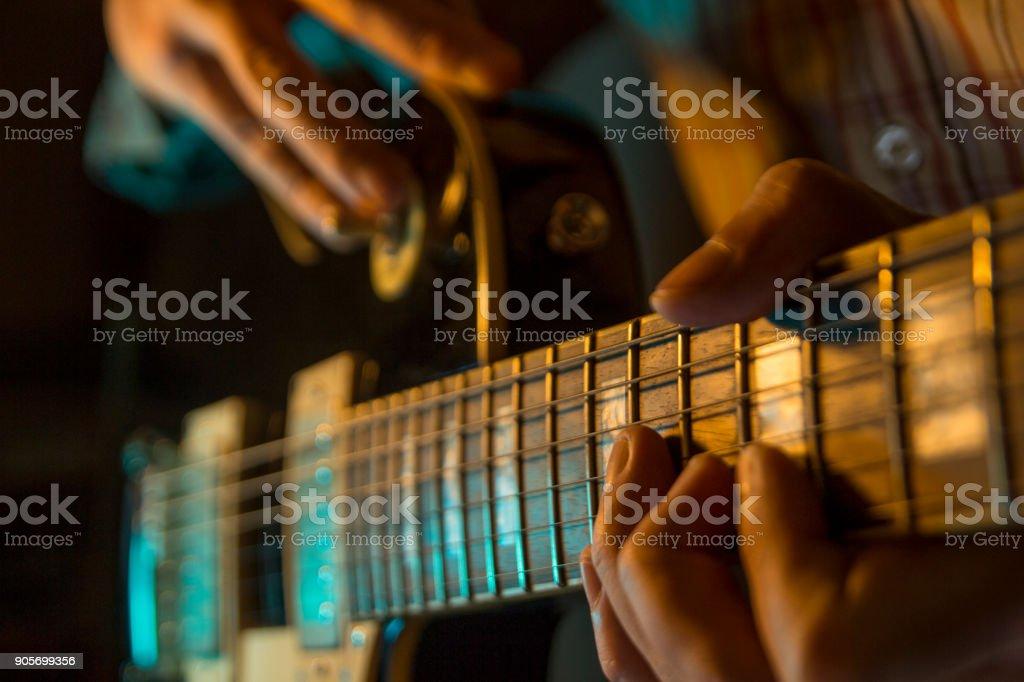 Electic guitar, close up stock photo