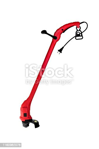 Electic - mechanic garden grass trimmer isolated on white with.