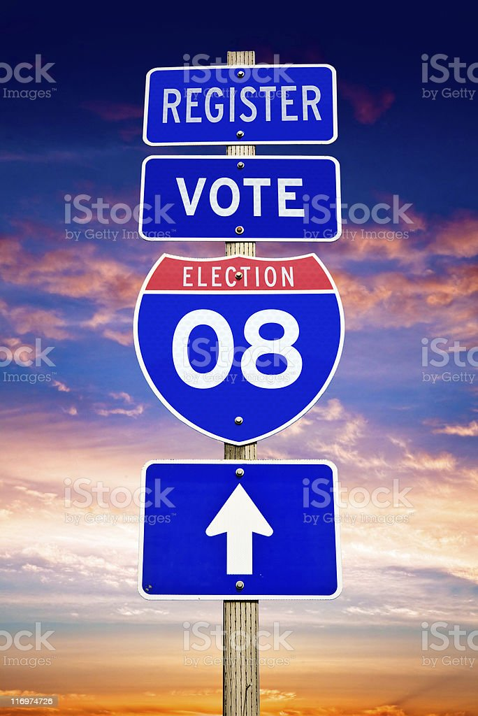 Election 2008 Road Sign stock photo