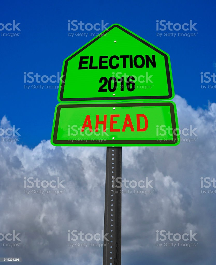 election 2016 ahead sign stock photo