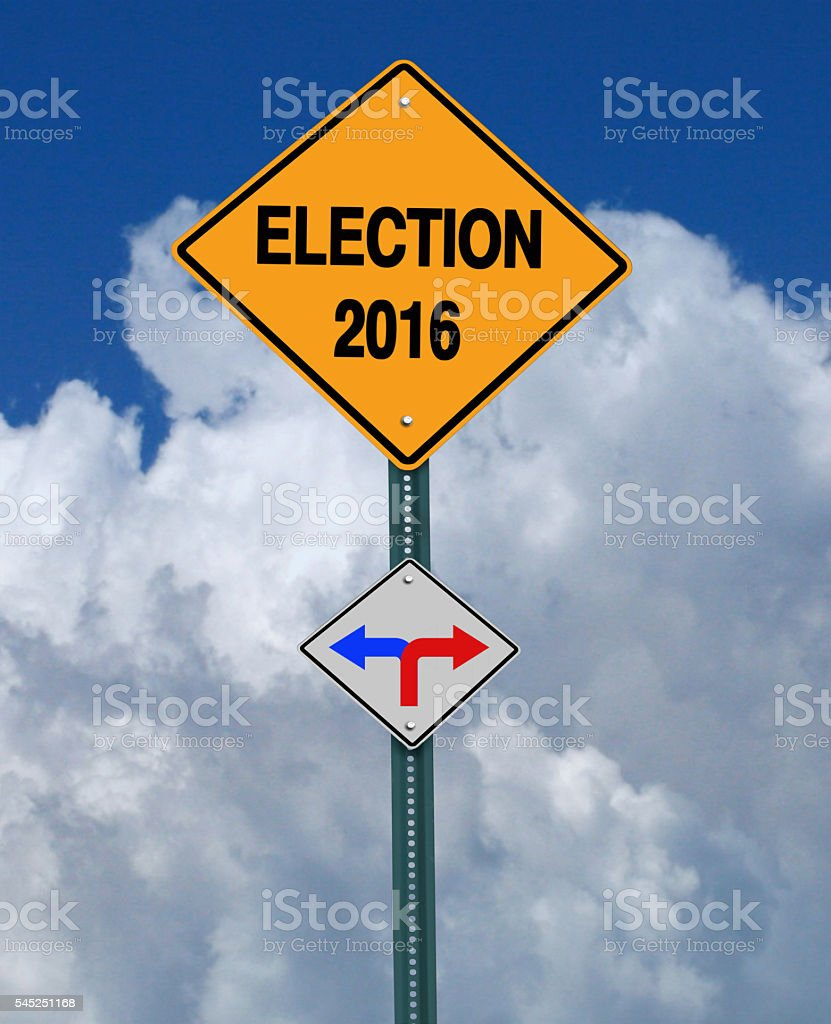 election 2016 left or right ahead sign stock photo