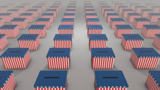 сша выборы 2020- урны для голосования, простирающиеся до горизонта - biden стоковые фото и изображения