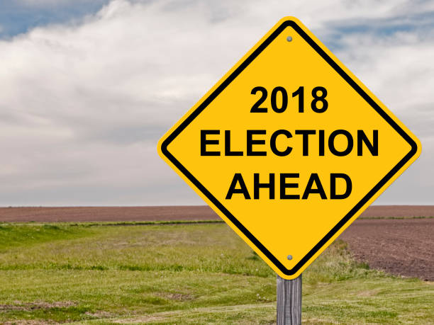 2018 election ahead sign - vote sign stock photos and pictures