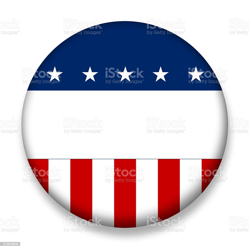 USA election badge voting blank stock photo