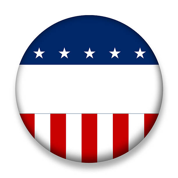 usa election badge voting blank - vote sign stock photos and pictures