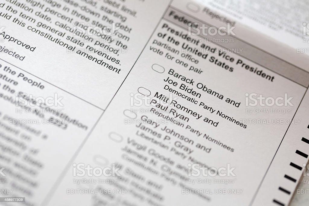 Election Ballot 2012 stock photo