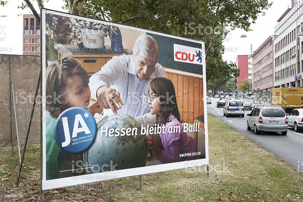 Election campaign billboard of CDU / Landtagswahlkampf 2013 royalty-free stock photo
