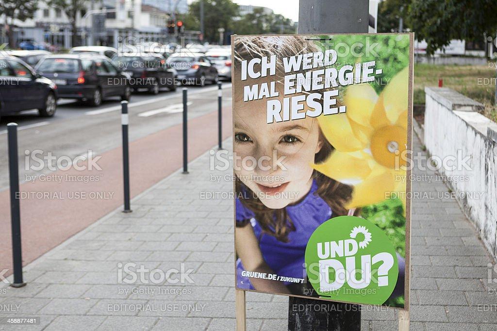 Election campaign billboard of DIE GRUENEN / Bundestagswahlkampf stock photo