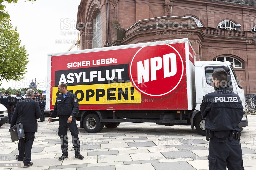NPD Election campaign, Wiesbaden stock photo