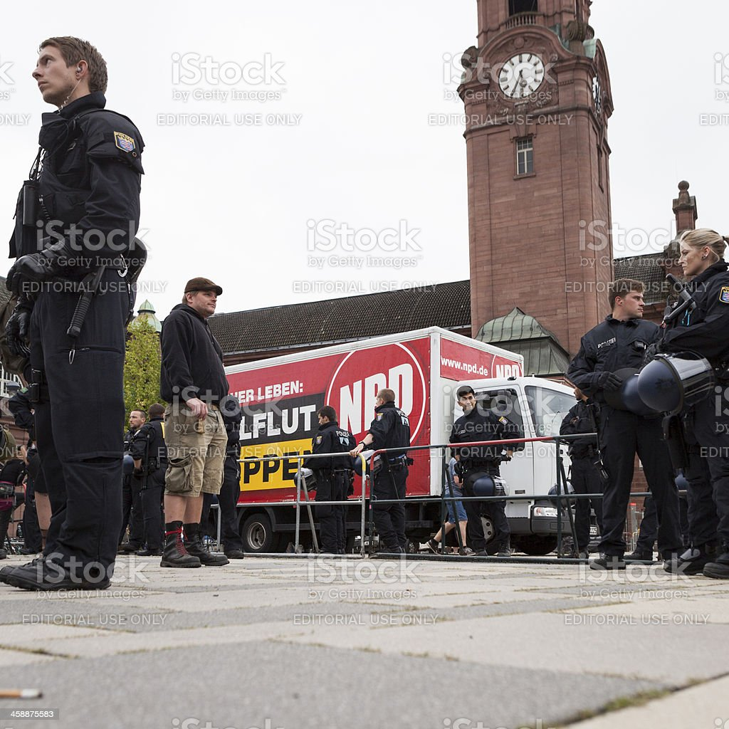 NPD Election campaign, Wiesbaden royalty-free stock photo