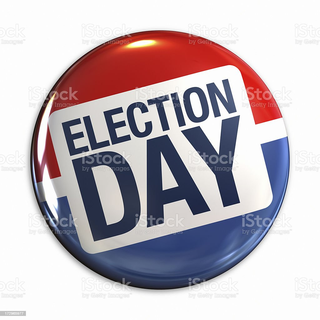 Election Day badge in red, white & blue stock photo