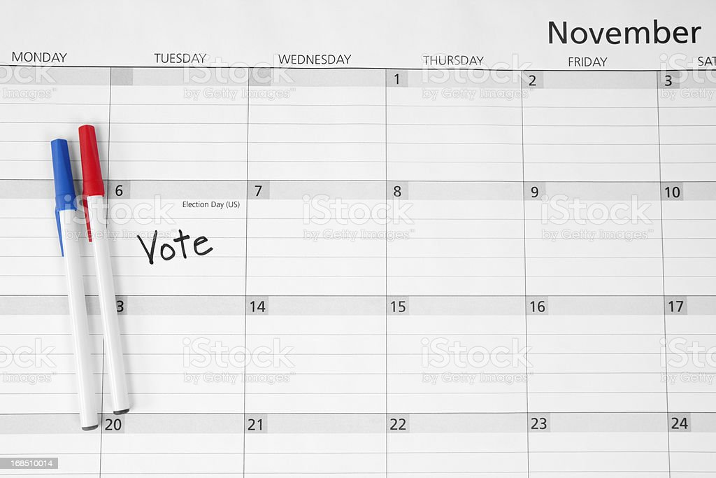 Election Day Calendar Reminder: Vote stock photo