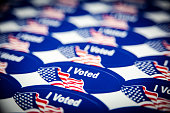 A sheet of stickers given to American citizens upon voting on election day by the Registrar of Voters.