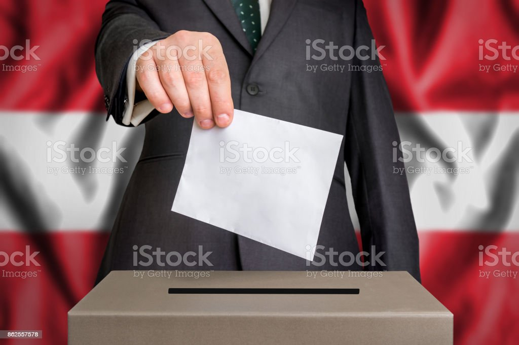 Election in Austria - voting at the ballot box stock photo