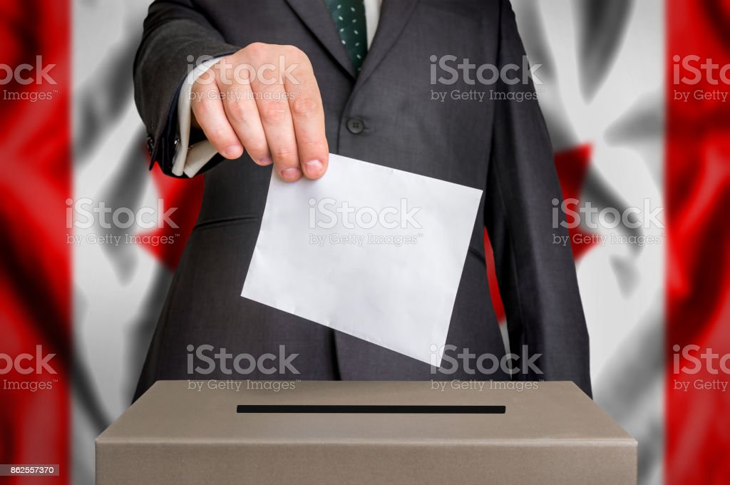 Election in Canada - voting at the ballot box stock photo