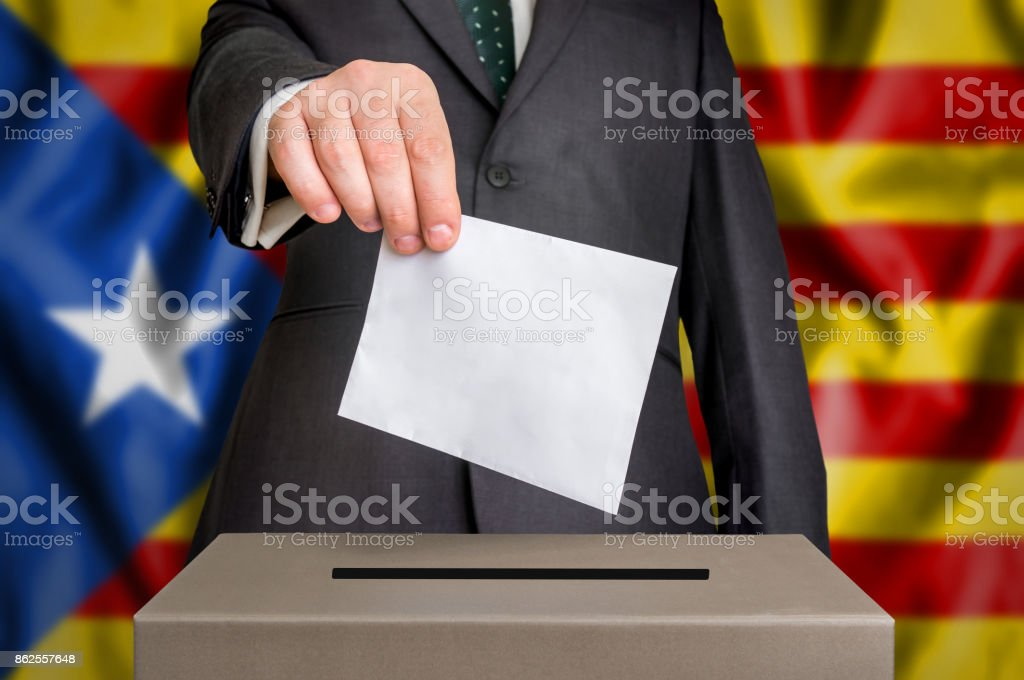 Election in Catalonia - voting at the ballot box stock photo
