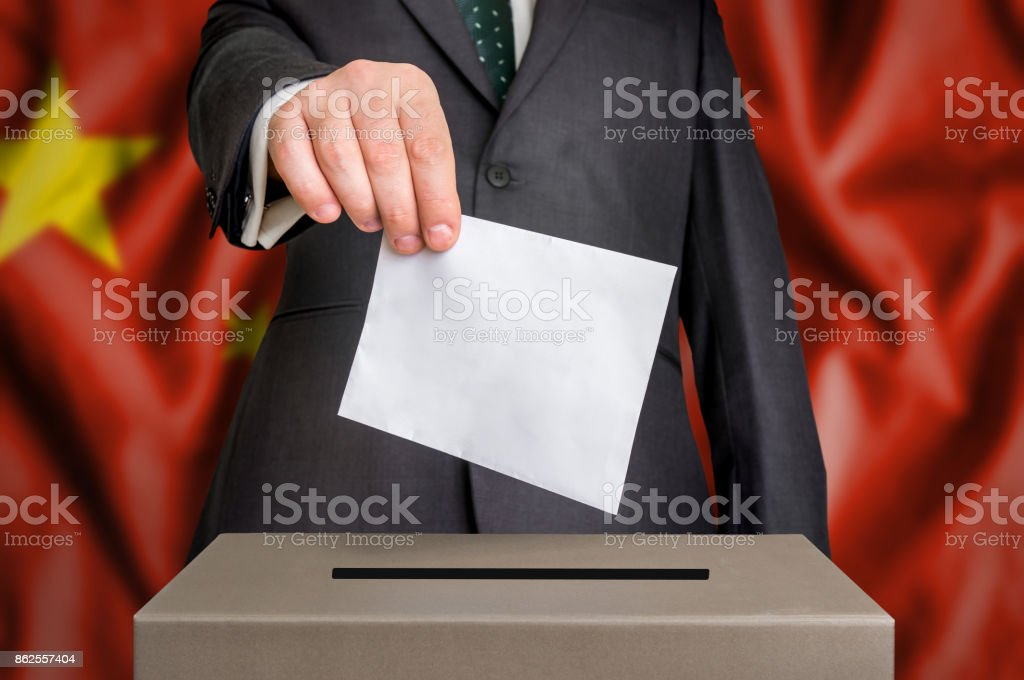 Election in China - voting at the ballot box stock photo
