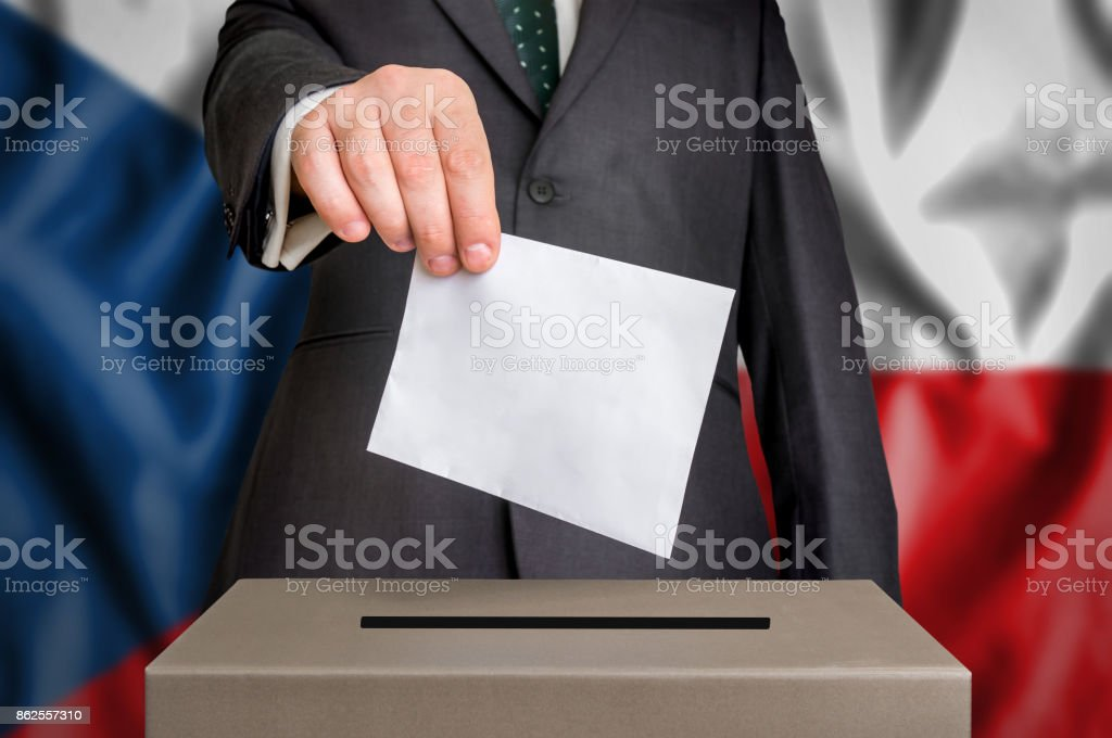 Election in Czech Republic - voting at the ballot box stock photo