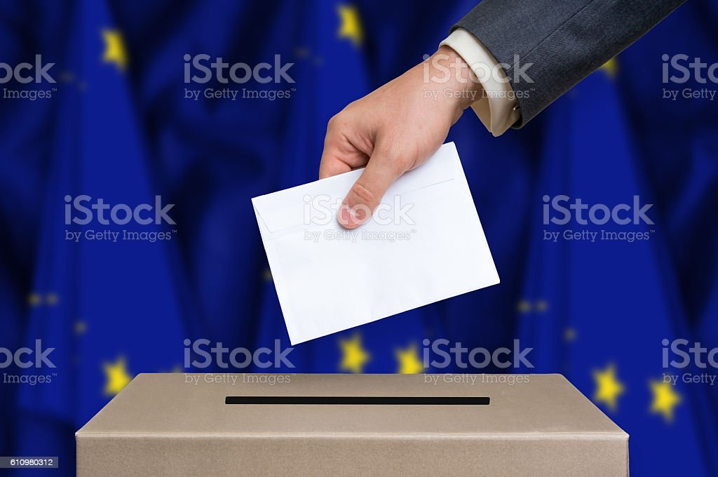 Election in European Union - voting at the ballot box stock photo