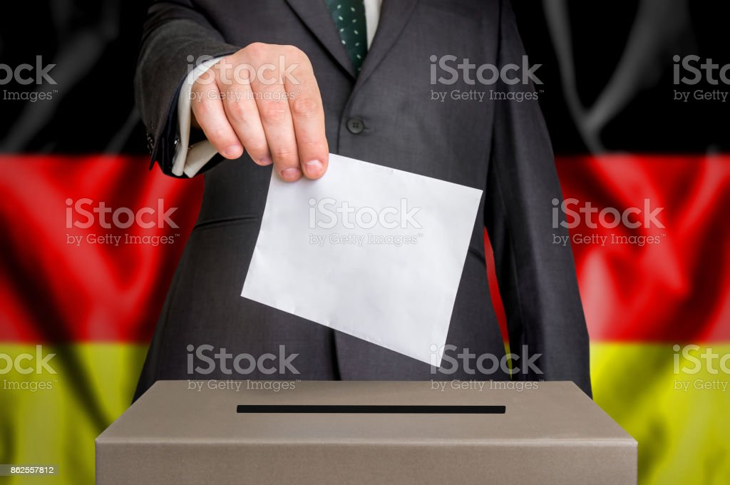 Election in Germany - voting at the ballot box stock photo