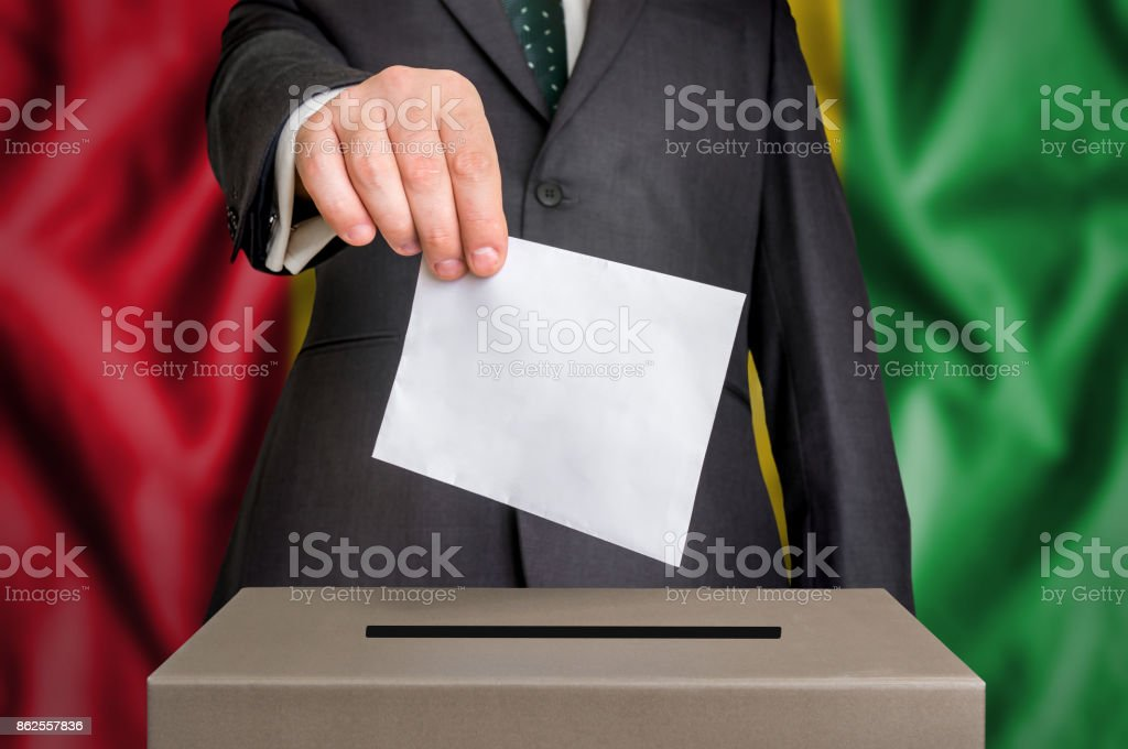 Election in Guinea - voting at the ballot box stock photo