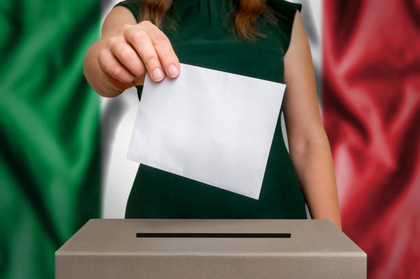 Election in Italy - voting at the ballot box stock photo