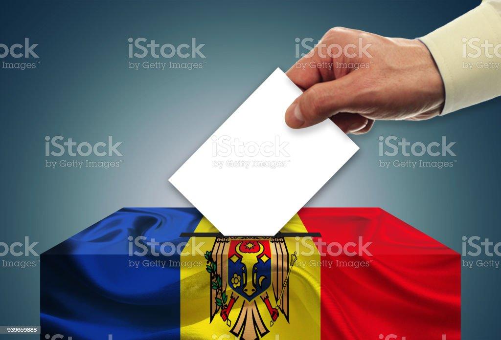 Election in Moldova - voting at the ballot box stock photo