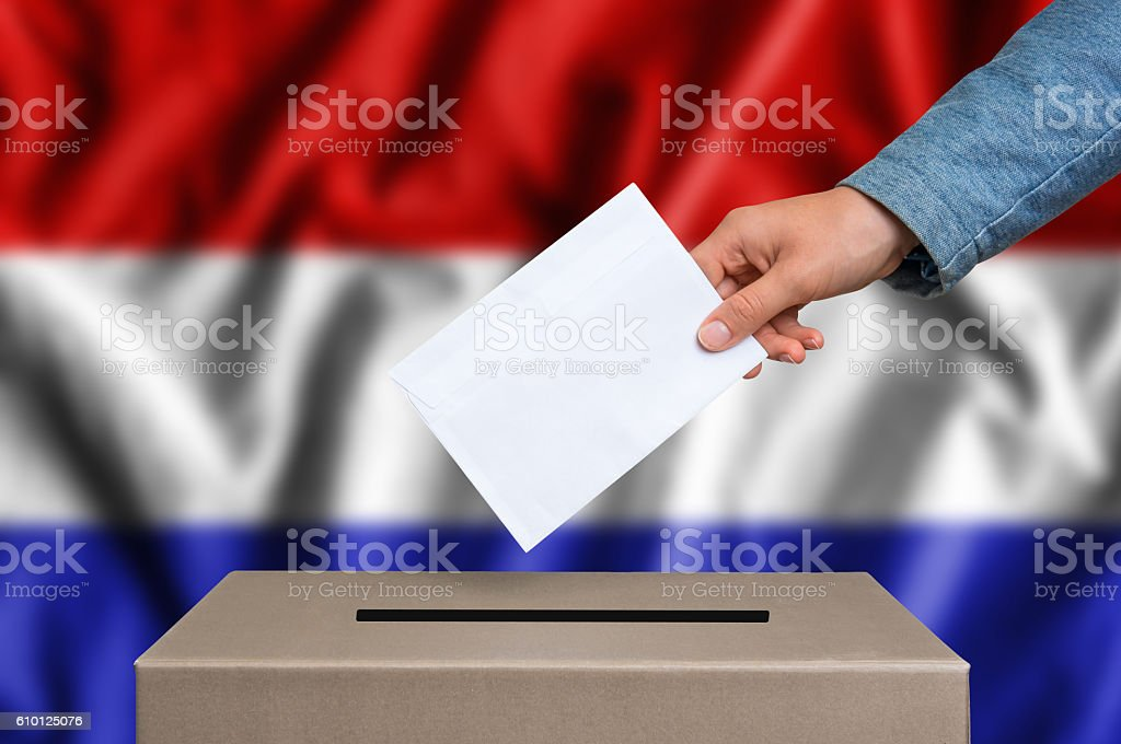 Election in Netherlands - voting at the ballot box stock photo