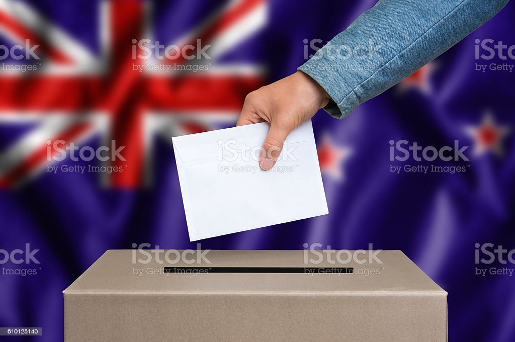 Election in New Zeland - voting at the ballot box stock photo