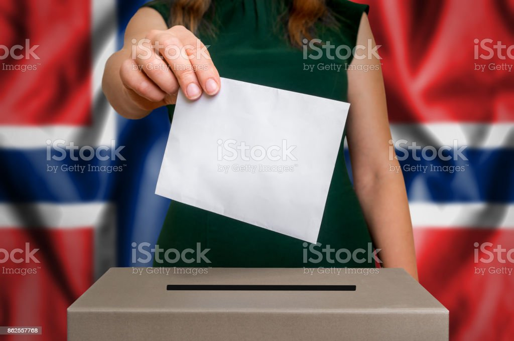 Election in Norway - voting at the ballot box stock photo