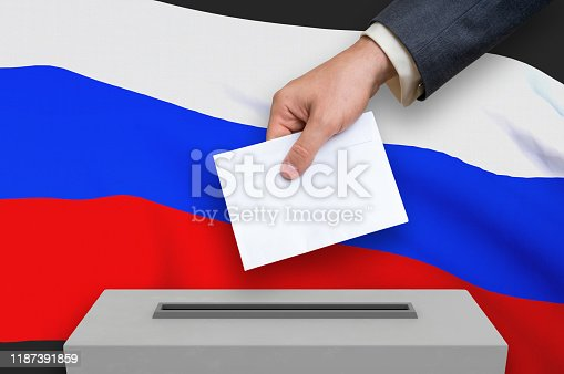 Election in Russia - voting at the ballot box. The hand of man is putting his vote in the ballot box. 3D rendered illustration.