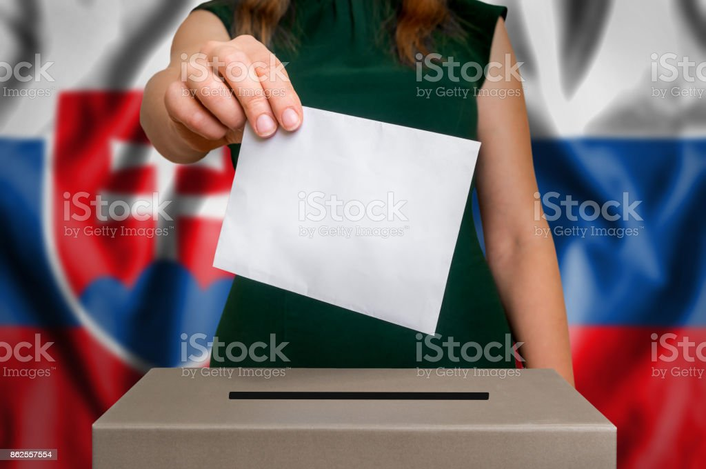 Election in Slovakia - voting at the ballot box stock photo