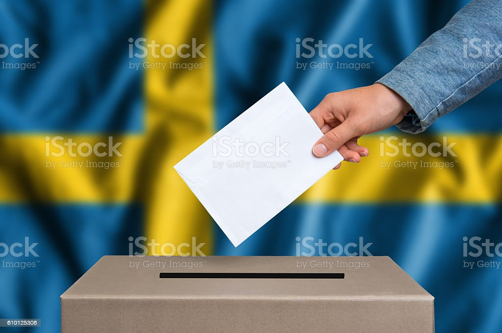 Election in Sweden - voting at the ballot box stock photo