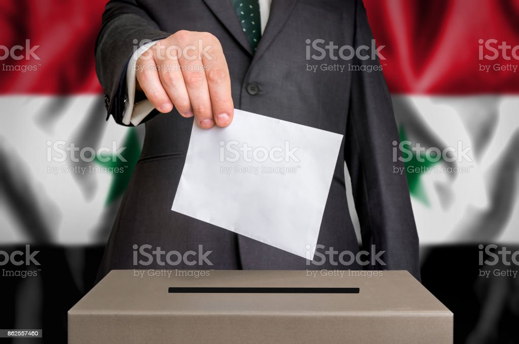 Election in Syria - voting at the ballot box stock photo
