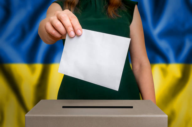 Election in Ukraine - voting at the ballot box stock photo