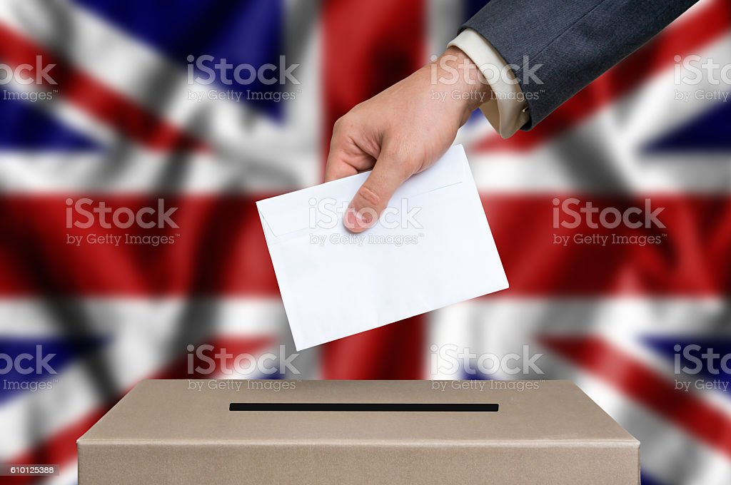 Election in United Kingdom - voting at the ballot box stock photo