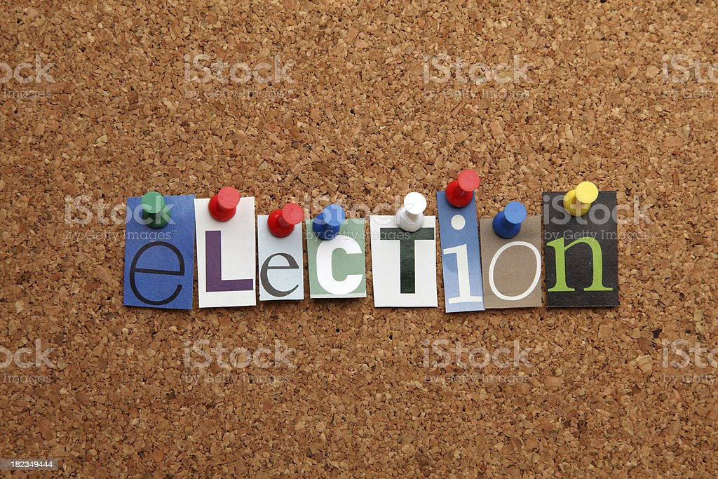Election pinned on noticeboard royalty-free stock photo