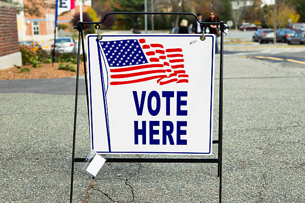 election polling place station - vote sign stock photos and pictures