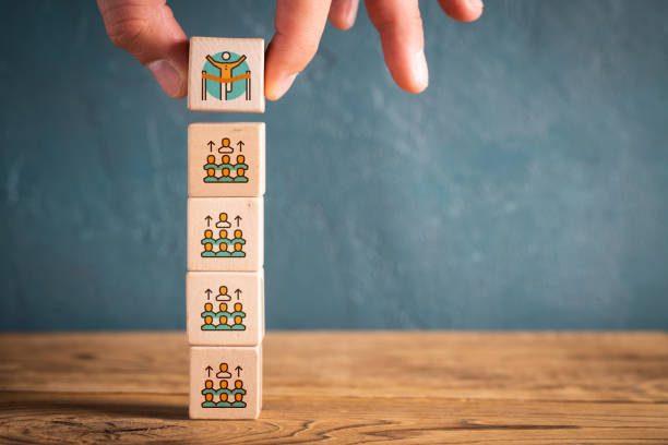 election process shown as symbols on cubes stock photo