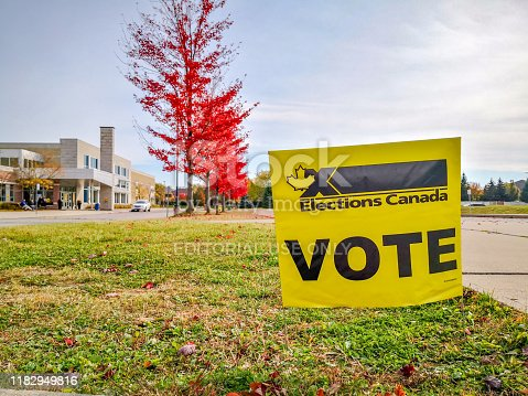Election sign at Polling Station of Woodbridge, Ontario, Canada.