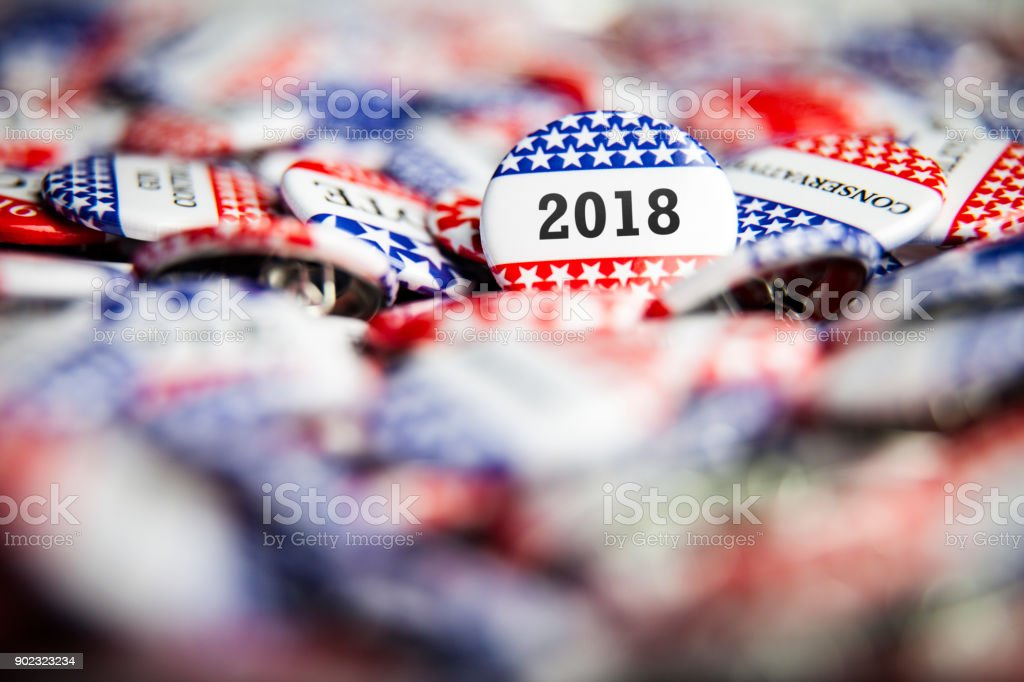 Election Vote Button 2018 stock photo