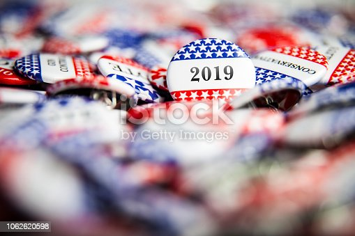 Closeup of election vote button with text that says 2019