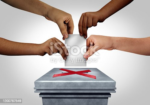 Election voter suppression as diverse hands are discouraged or prevented a group of people from casting a ballot at a voting polling station as a right to vote restrictions concept with 3D illustration elements.
