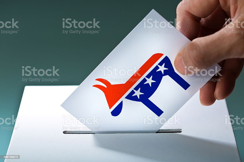 U.S. Election Voter Voting Democratic Party Ballot with Donkey Symbol stock photo