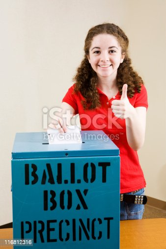 1001754954 istock photo Election - Young Voter Thumbsup 116812316