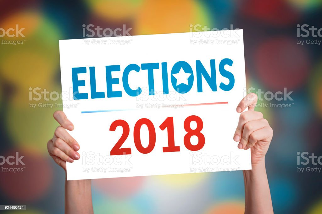 Elections 2018 Card stock photo