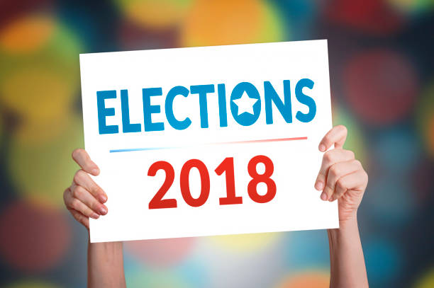 elections 2018 card - vote sign stock photos and pictures