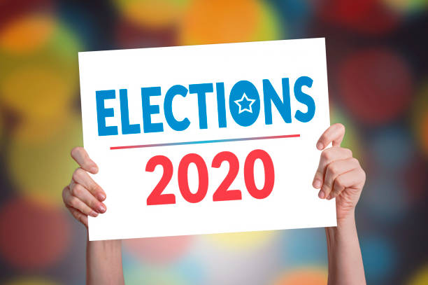 Elections 2020 Card Elections 2020 Card with Bokeh Background election stock pictures, royalty-free photos & images