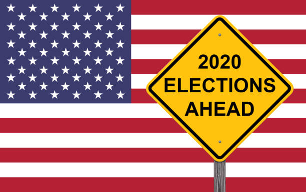 2020 elections ahead caution sign - election 2020 stock pictures, royalty-free photos & images